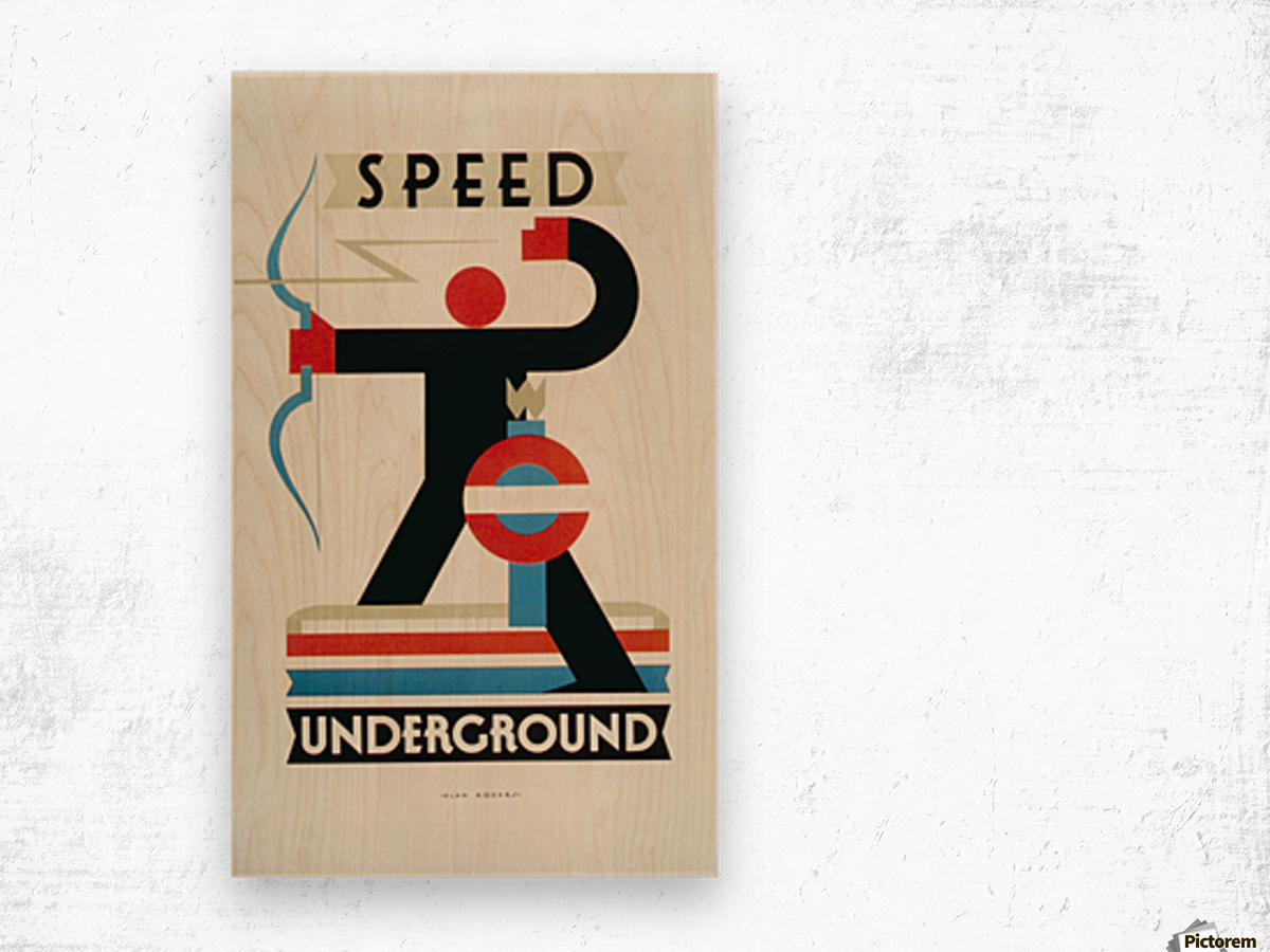 London Speed Underground poster Wood print