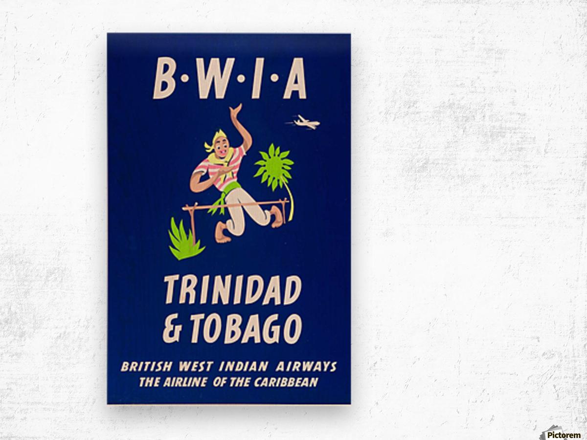 BWIA Trinidad Tobago original travel poster Wood print