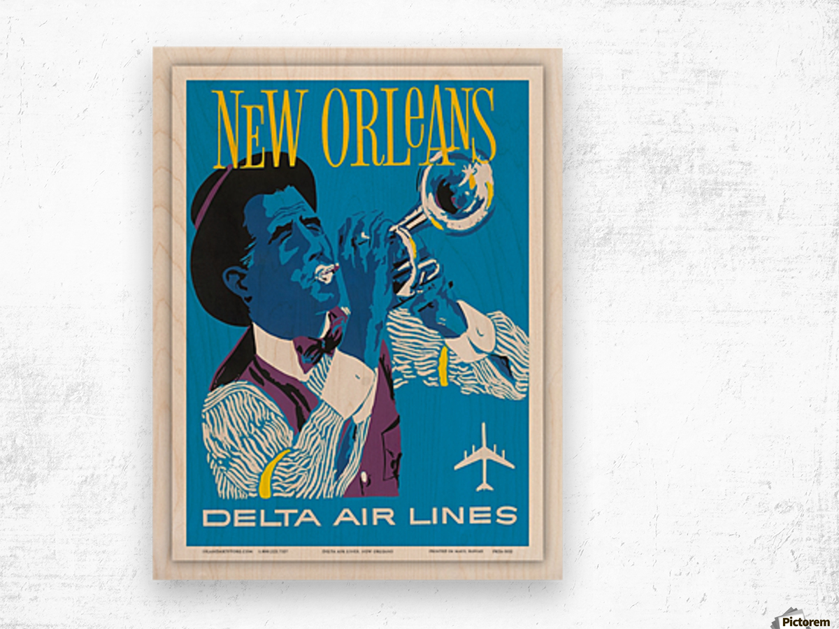 Delta Air Lines New Orleans USA Vintage Travel Poster Wood print