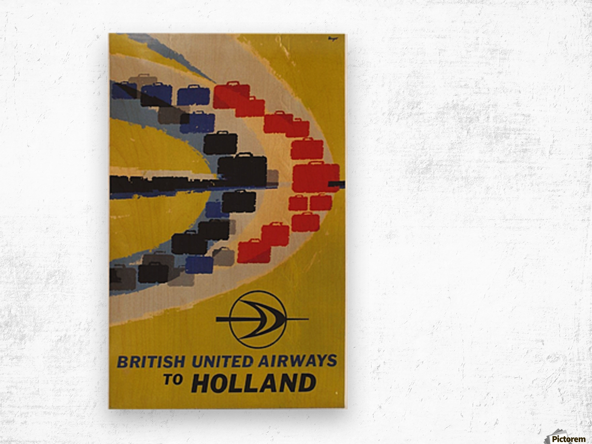 British United Airlines to Holland travel poster Wood print