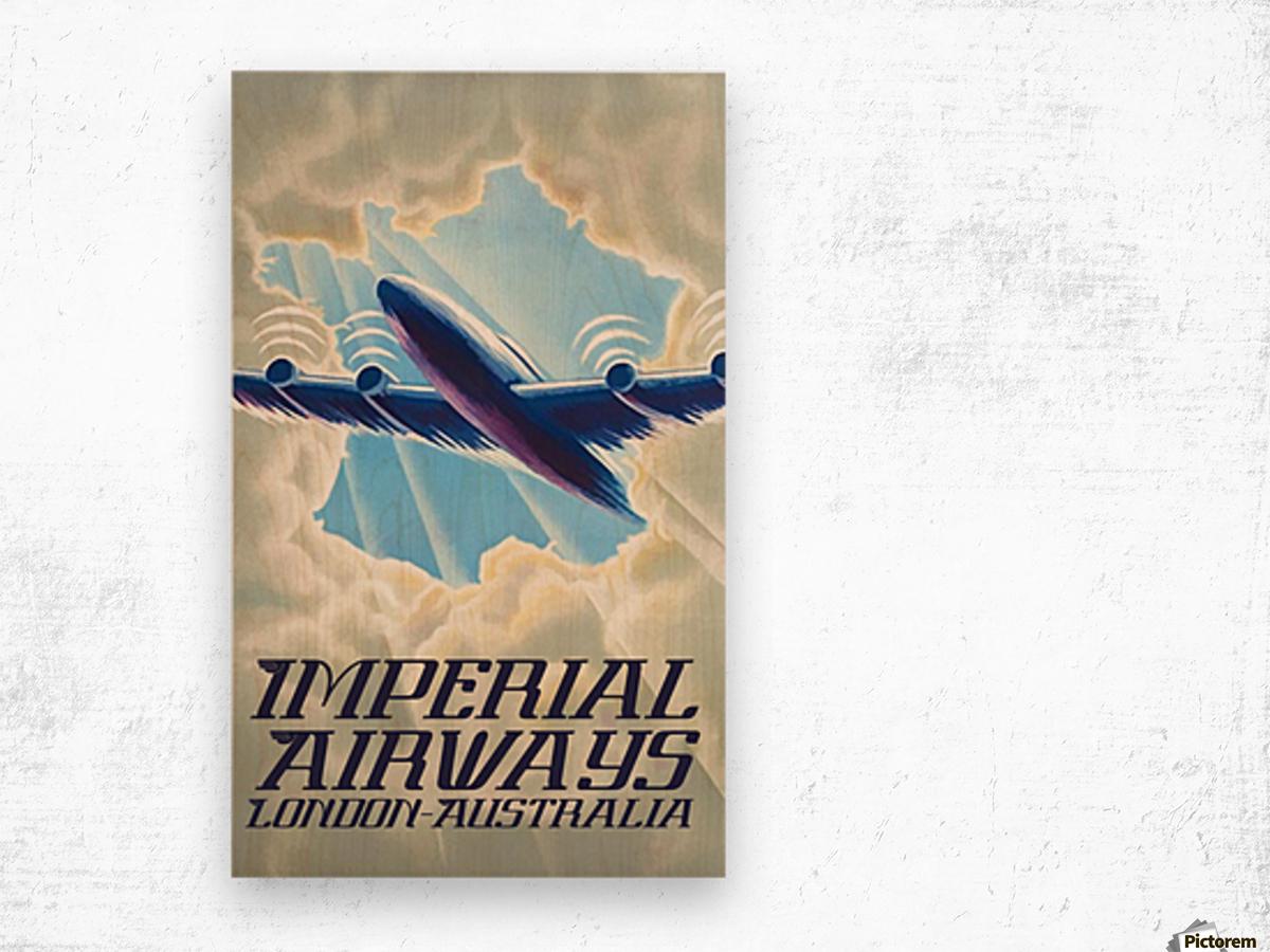Imperial Airways London - Australia vintage travel poster Wood print
