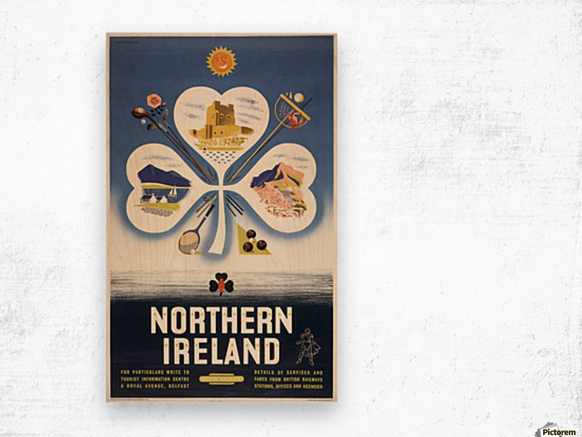 Vintage BR Irish Shamrock Travel poster Wood print
