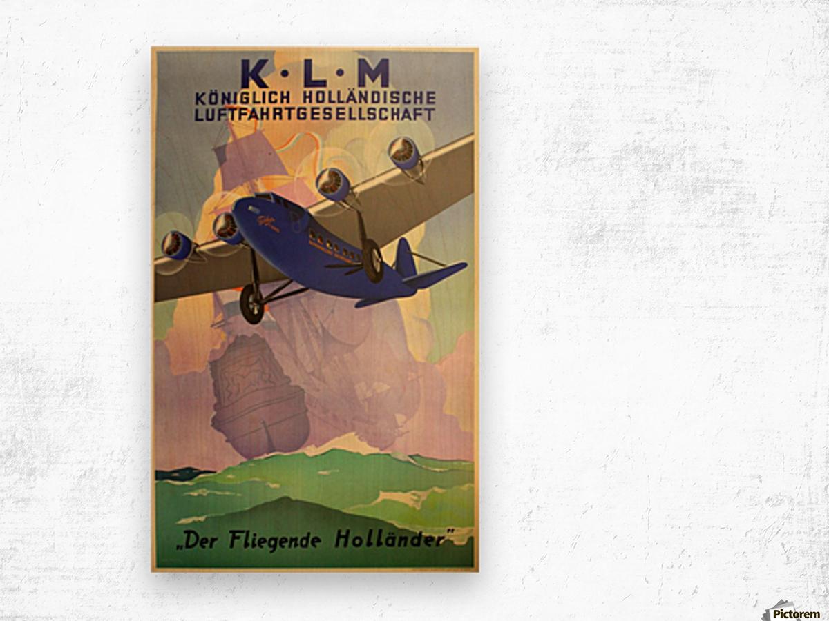 Original Vintage 1933 KLM Travel Advertising Poster Wood print