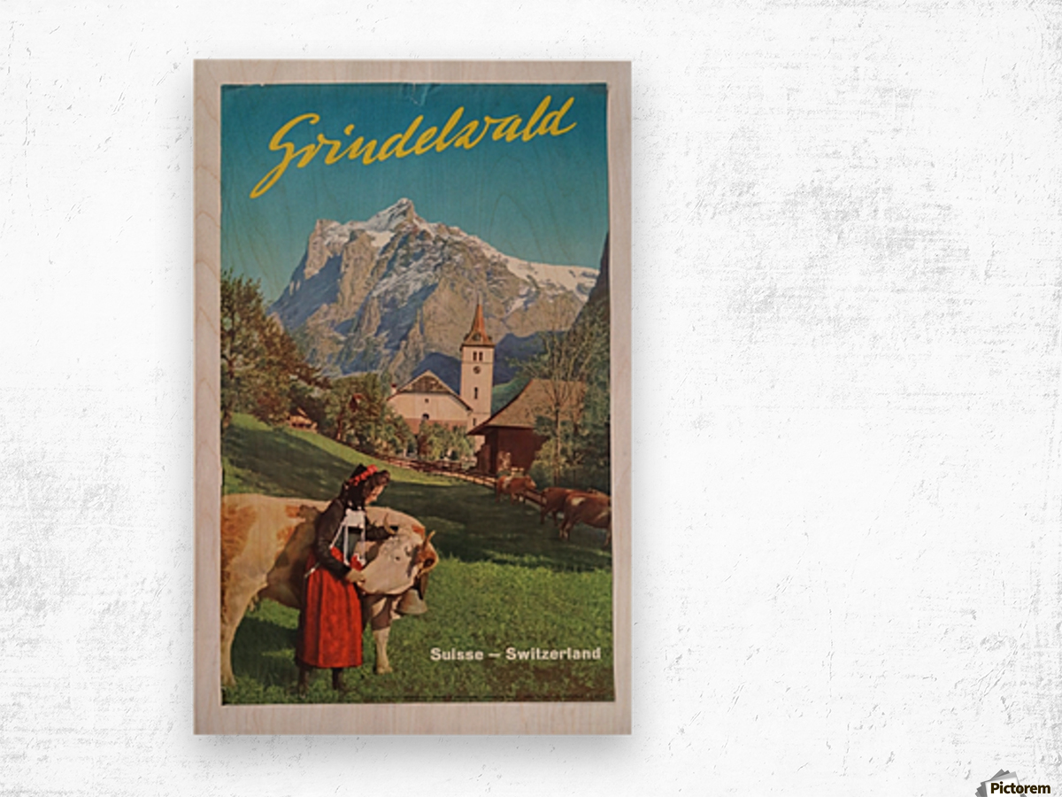 1960 Grindelwald Switzerland original vintage poster Wood print