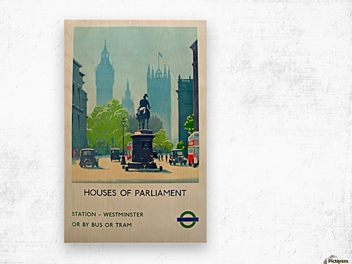 London Underground Houses of Parliament Wood print