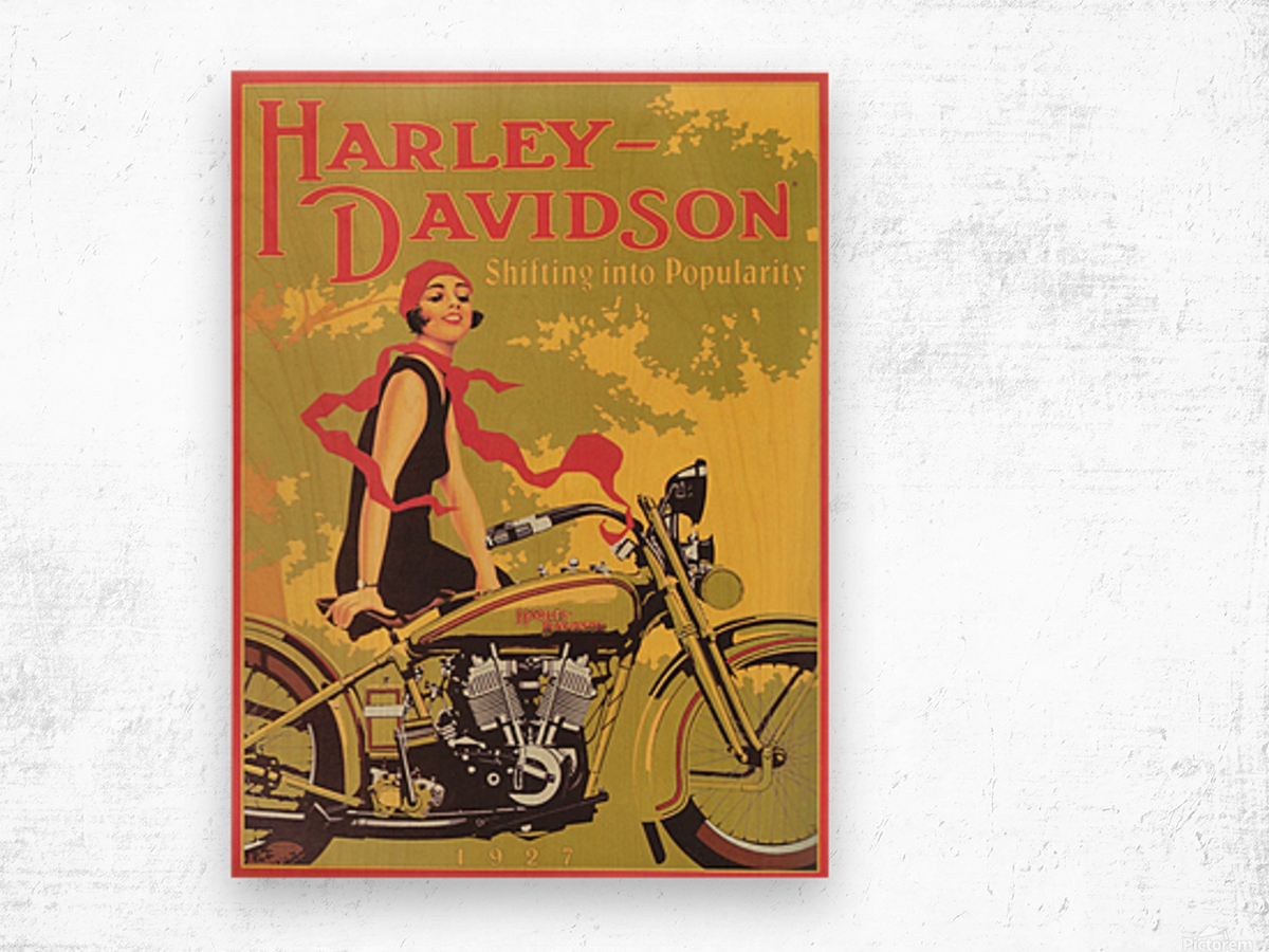 1929 Harley Davidson Shifting into Popularity Wood print