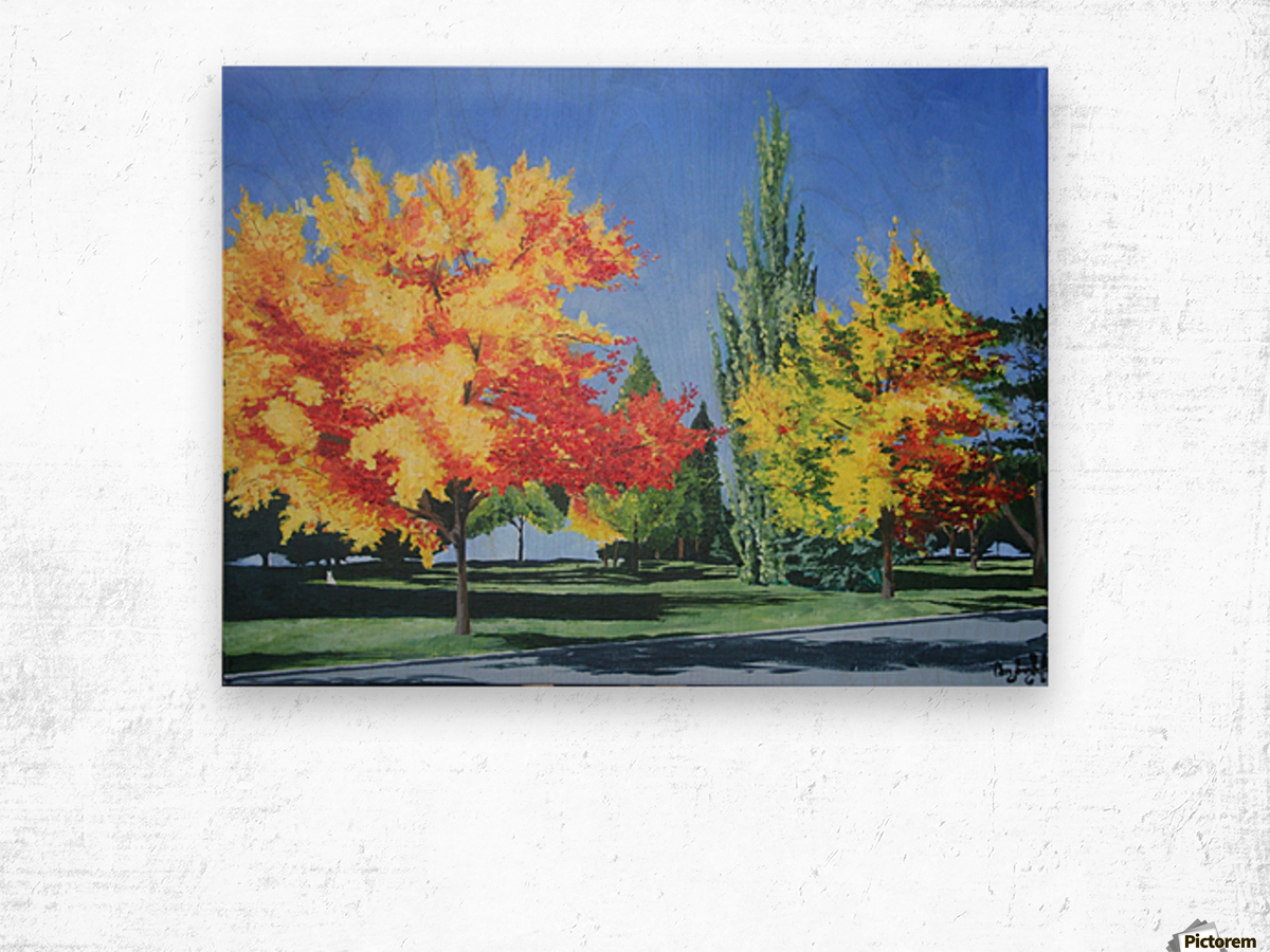 College Trees Wood print