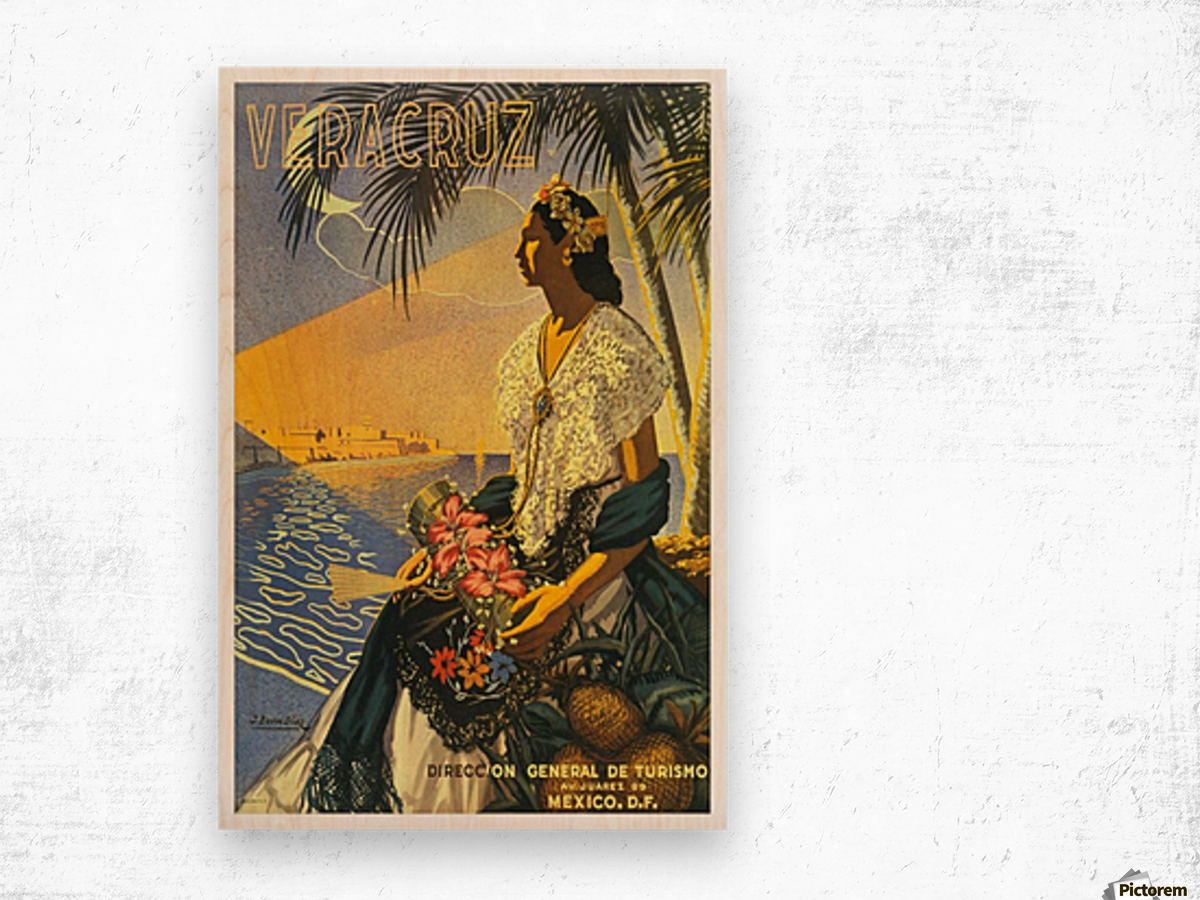 Mexico Veracruz vintage travel poster Wood print