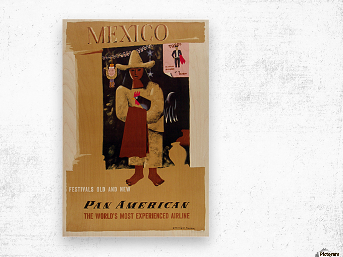 Mexico Pan American Poster Wood print