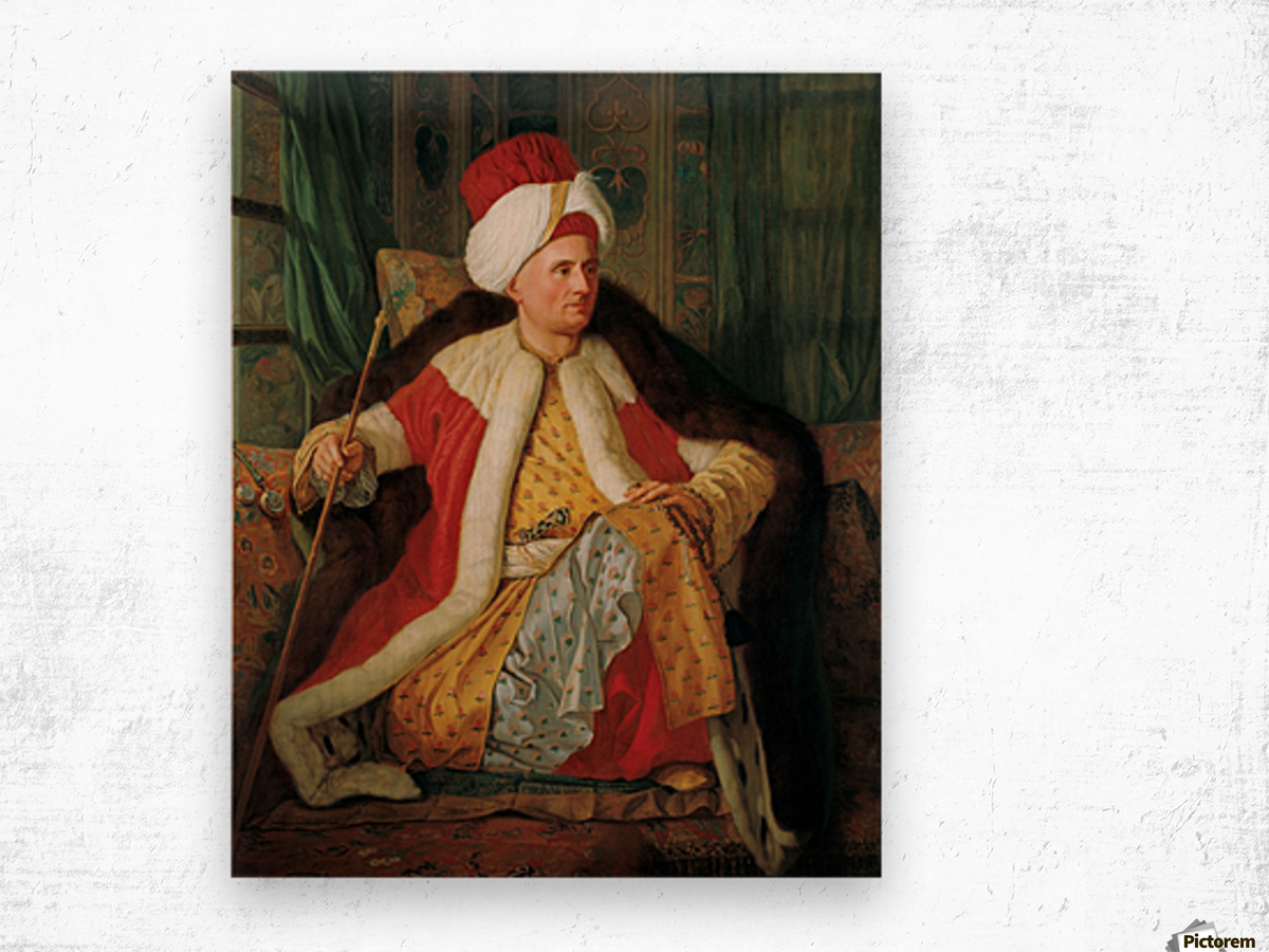 Portrait of Charles Gravier Count of Vergennes and French Ambassador in Turkish Attire Wood print