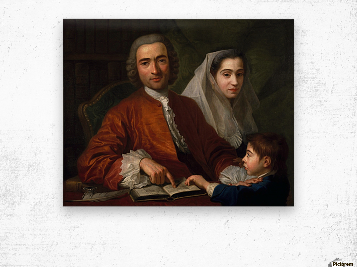 Dr Savatore Bernard with his wife and son Wood print