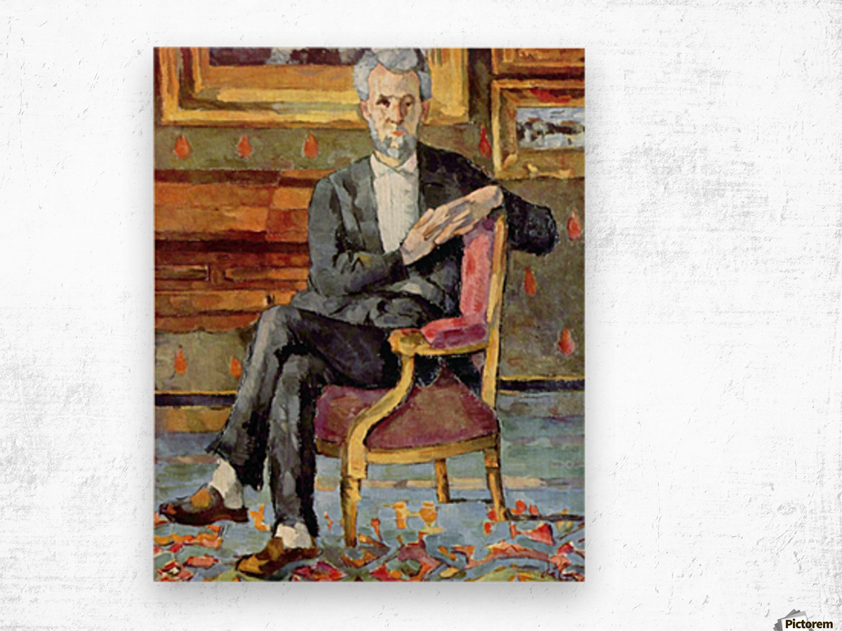 Victor Chocquet seated portrait by Cezanne Wood print