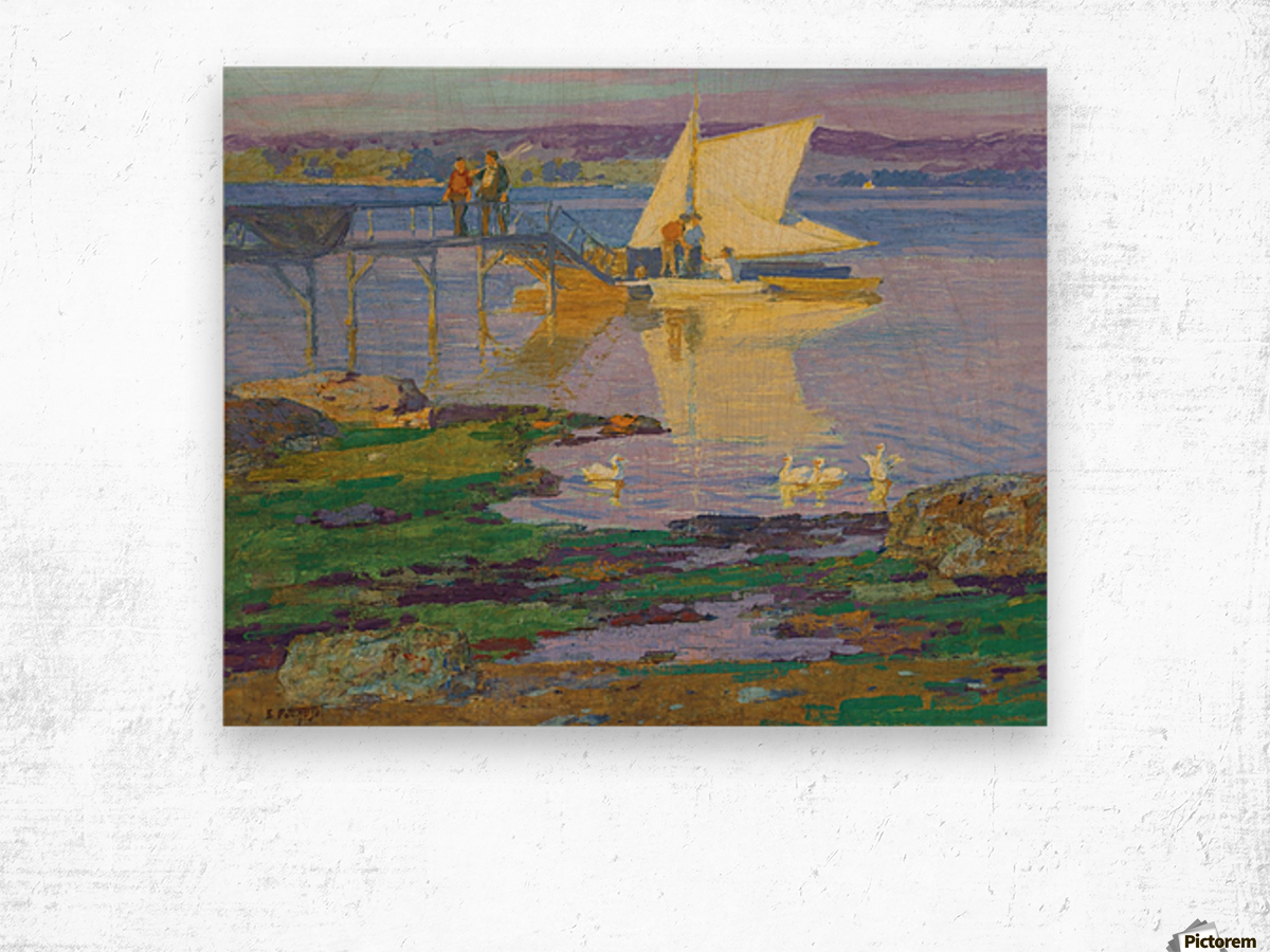A boat with people by the dock Wood print