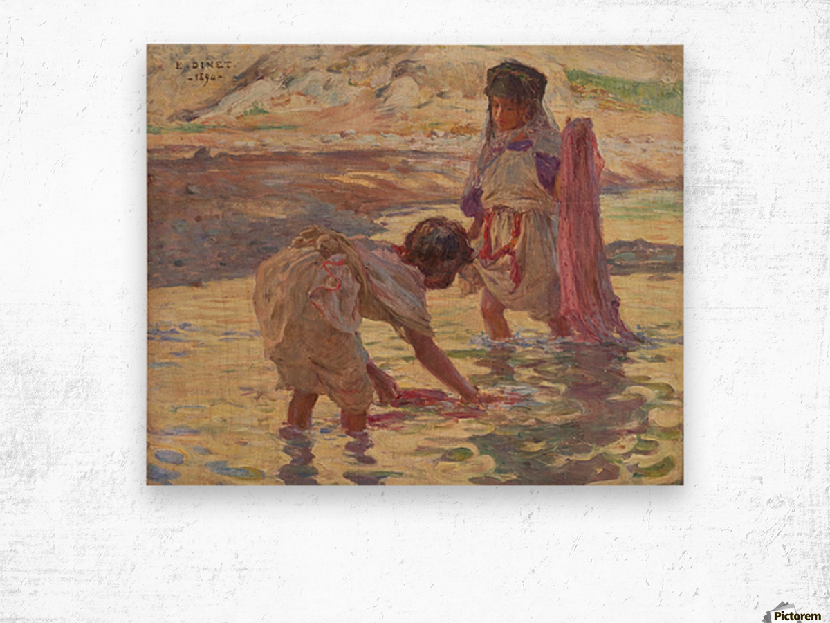 Children playing in the water Wood print