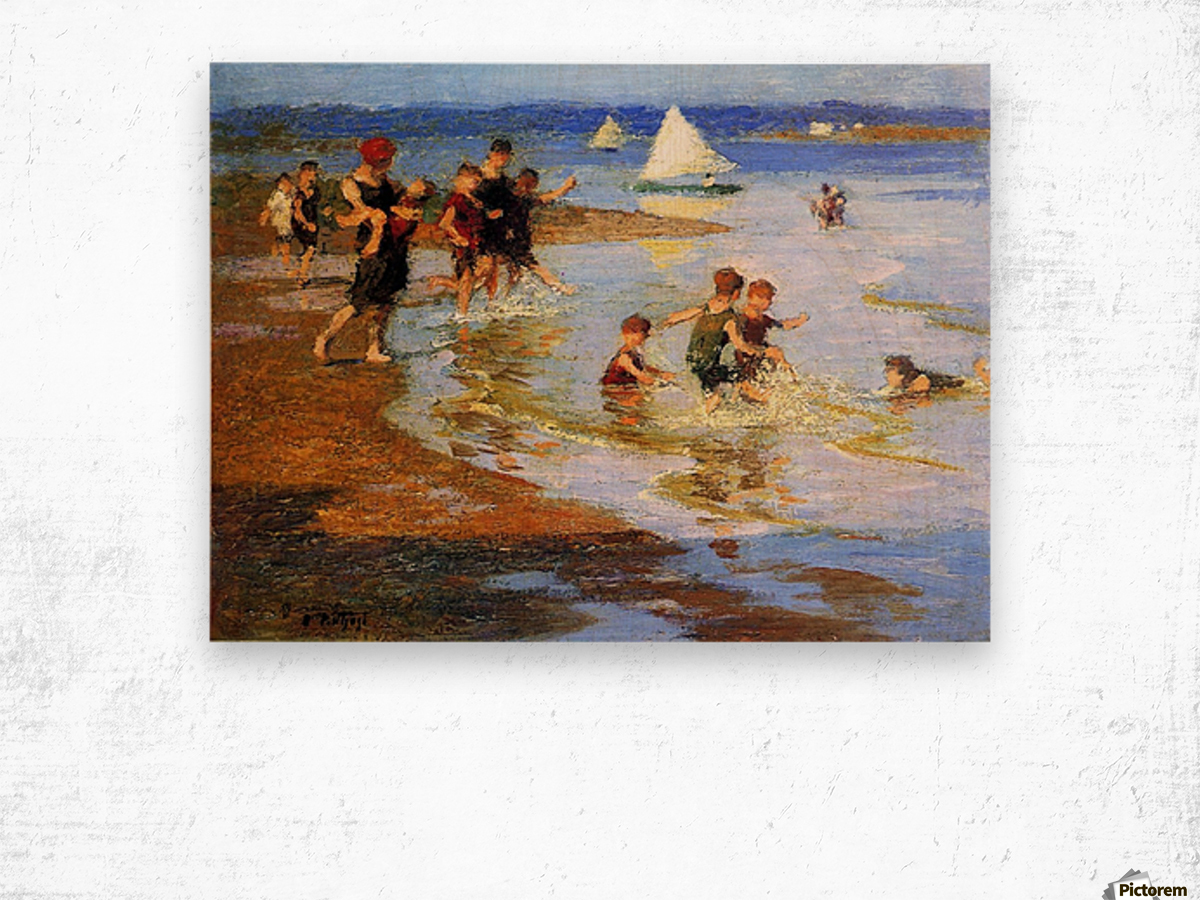 Children at Play on the Beach Wood print