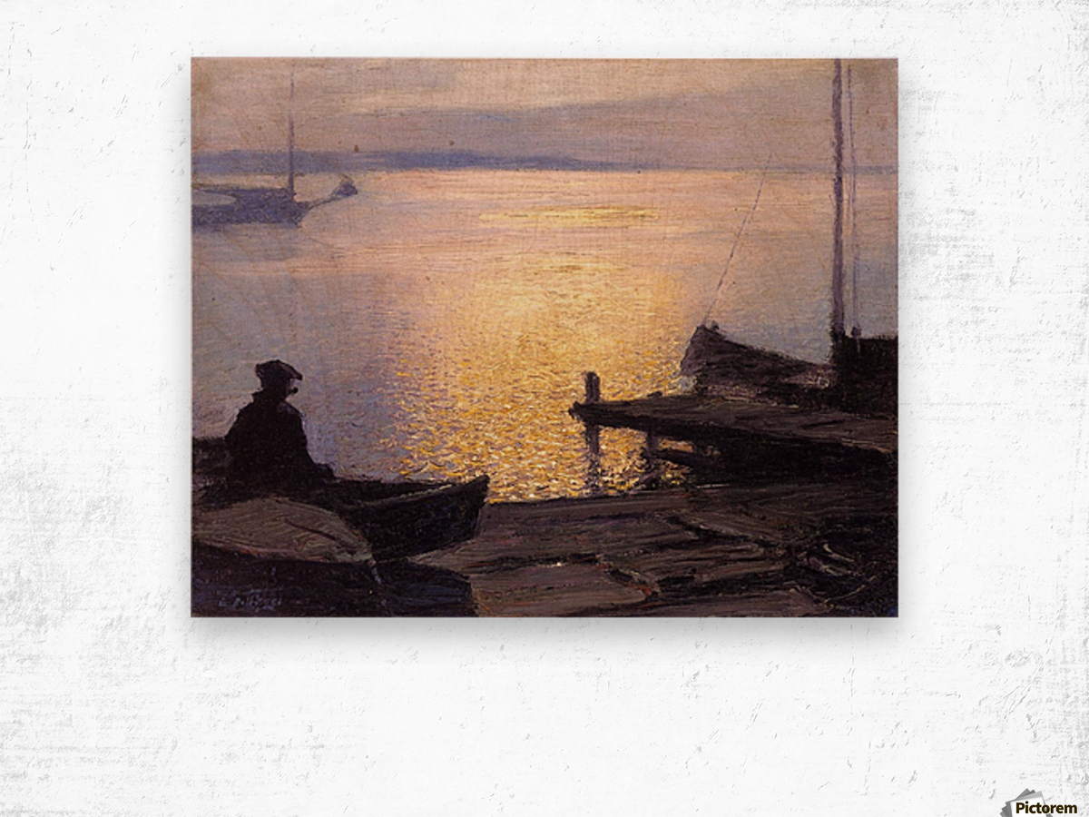 Fisherman in the sunset Wood print