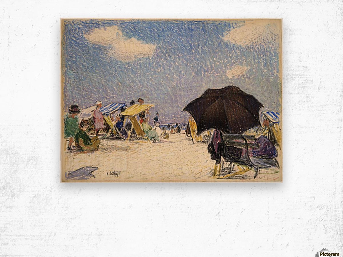 Scene by the beach Wood print