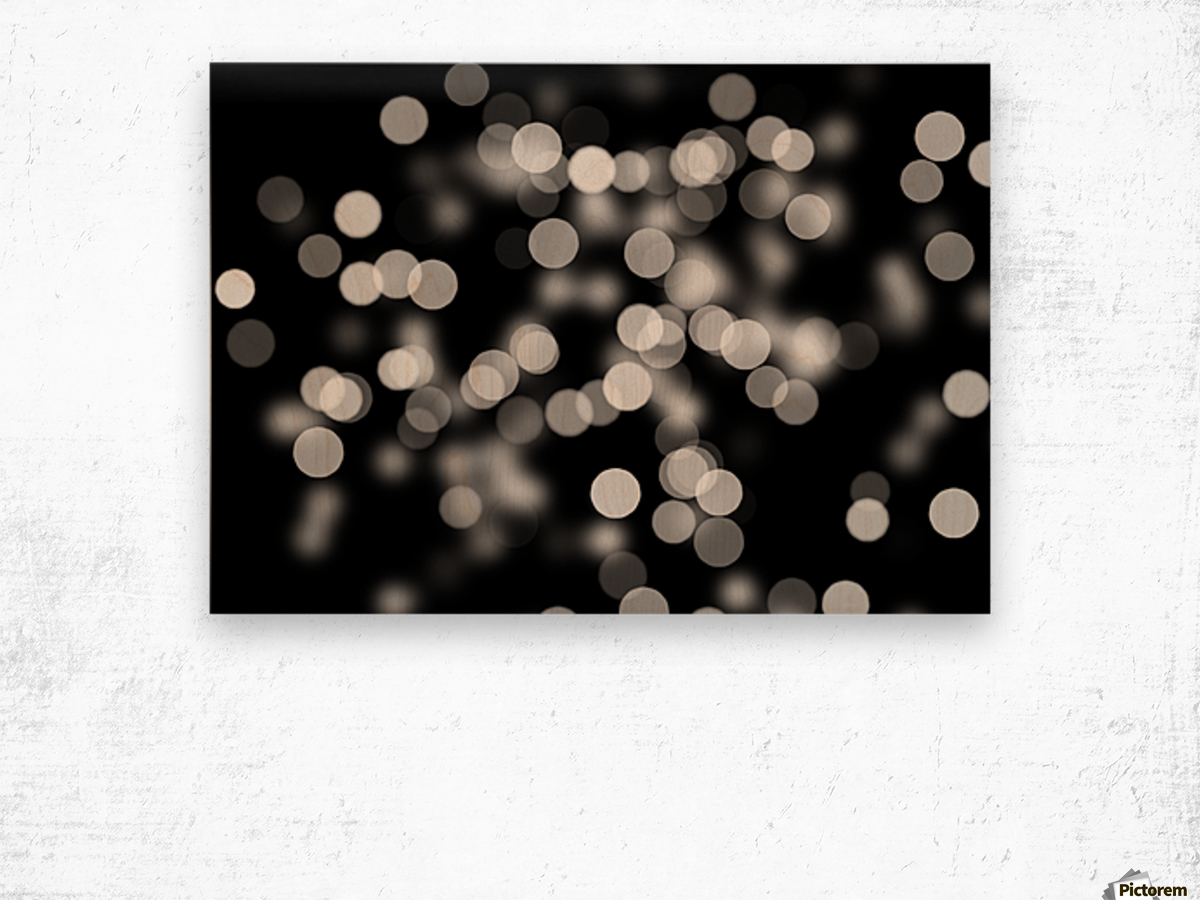 Bokeh Out Of Focus Black White Background Light Wood print
