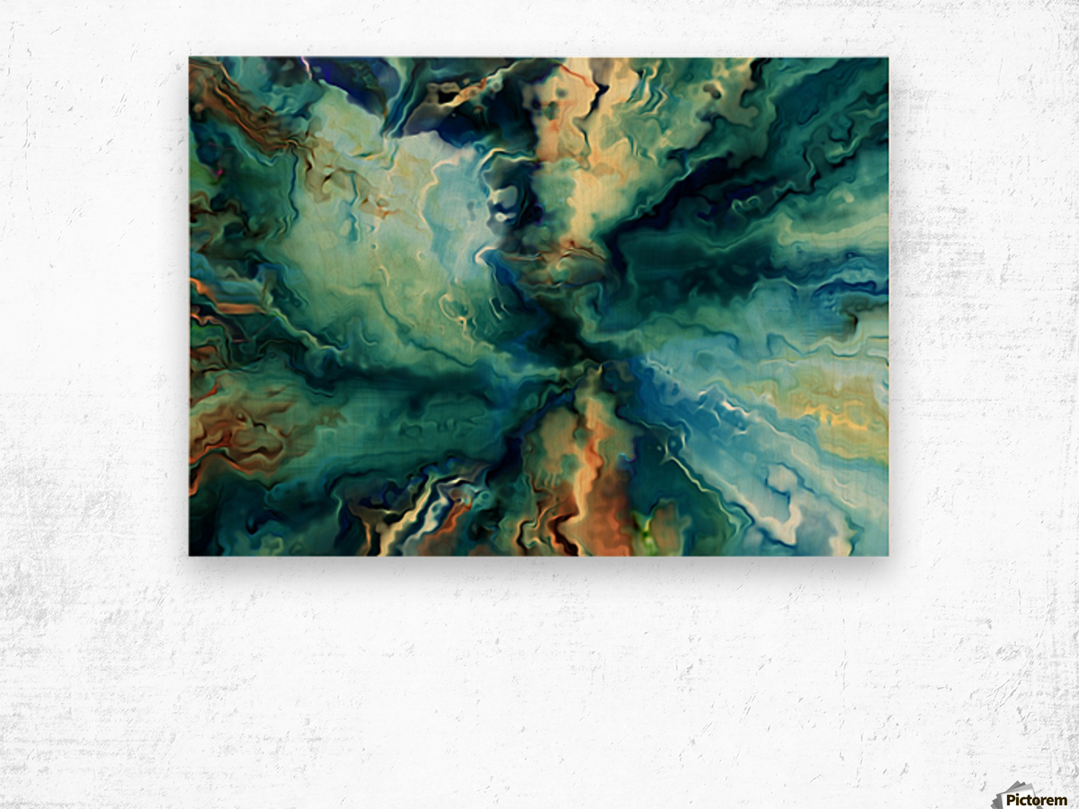 Oil Painting Abstract Color Line Wave Design Wood print