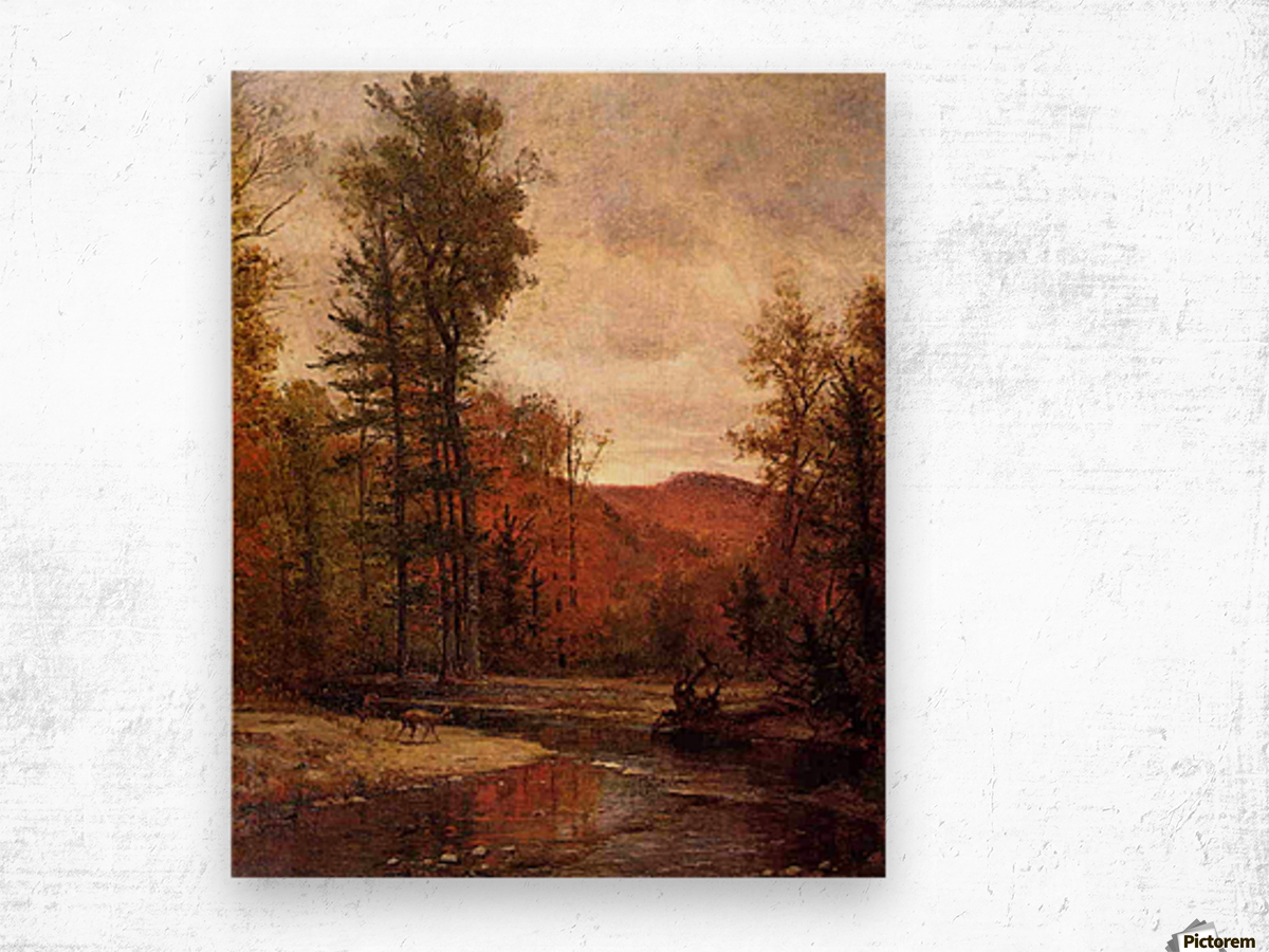 Adirondack Woodland with Two Deer 1880-1889 Wood print