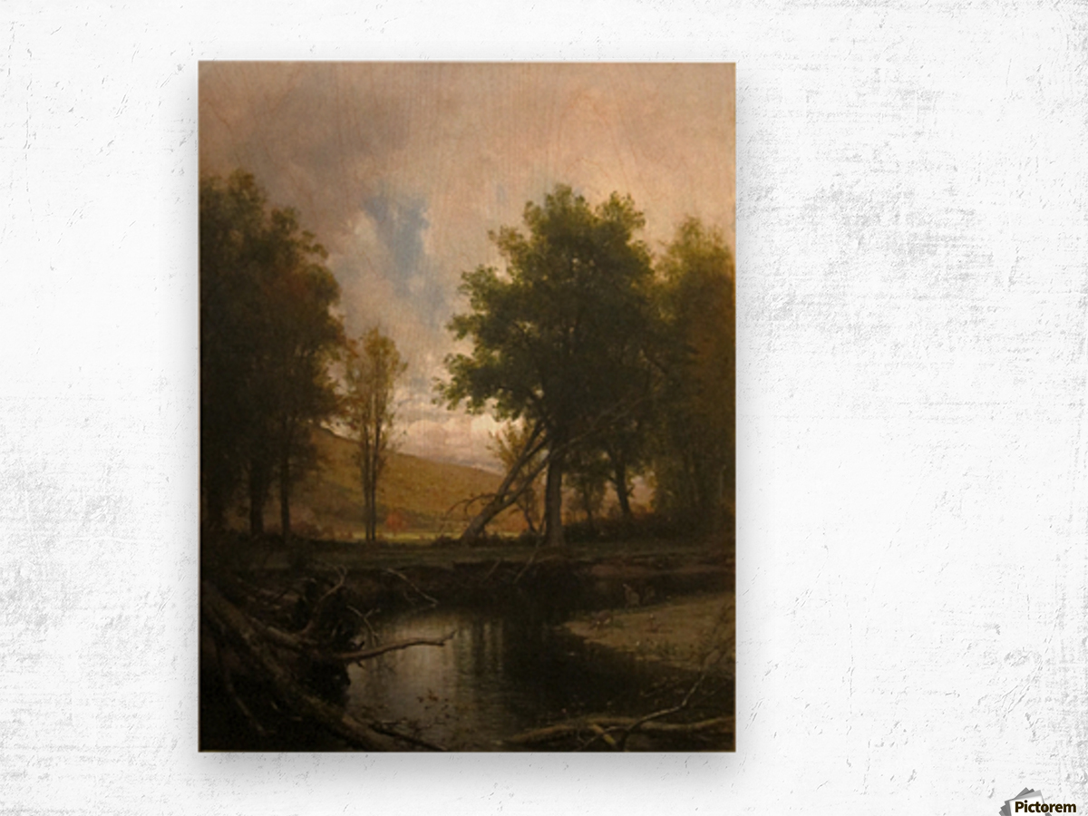 Landscape with Stream and Deer Wood print