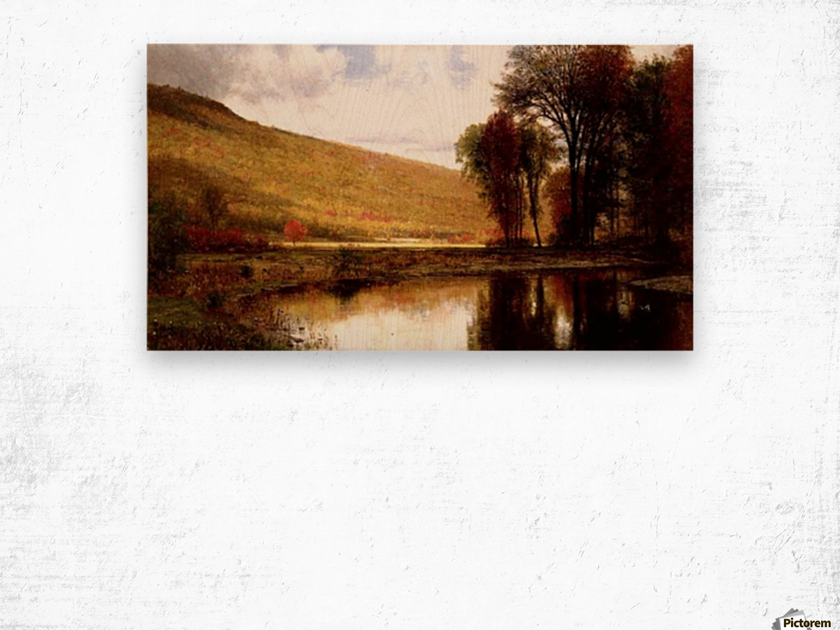 Landscape with a lake Wood print