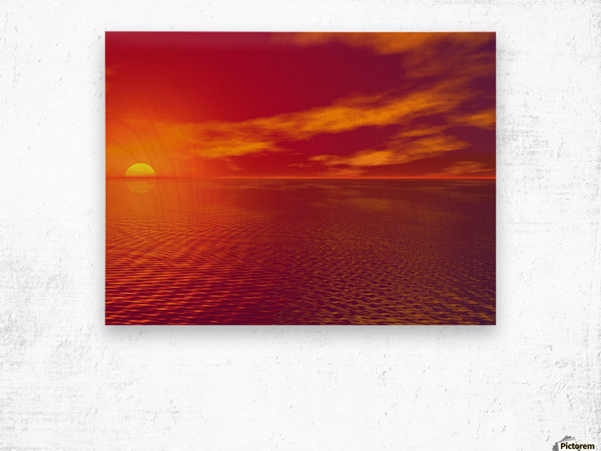 Sunset Over The Water Wood print