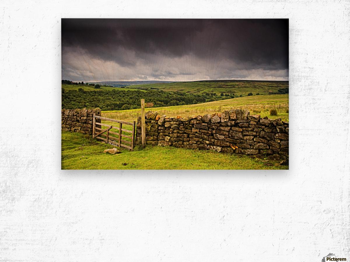 Stone Fence, Yorkshire, England Wood print