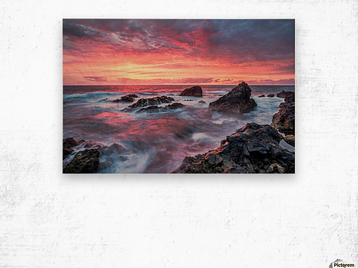 Colorful Sunset at Wild Coast on the Canary Islands Wood print