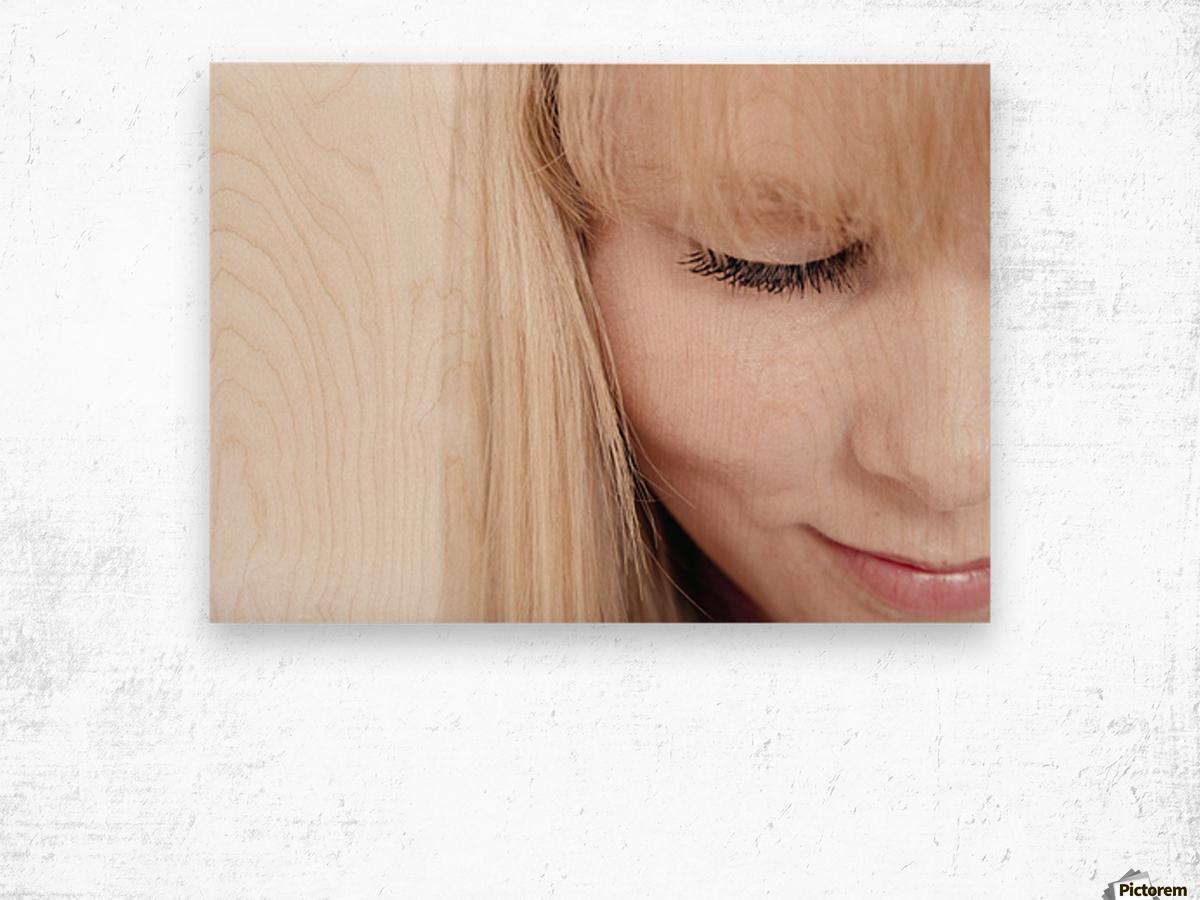 Closeup Of A Woman's Face Wood print