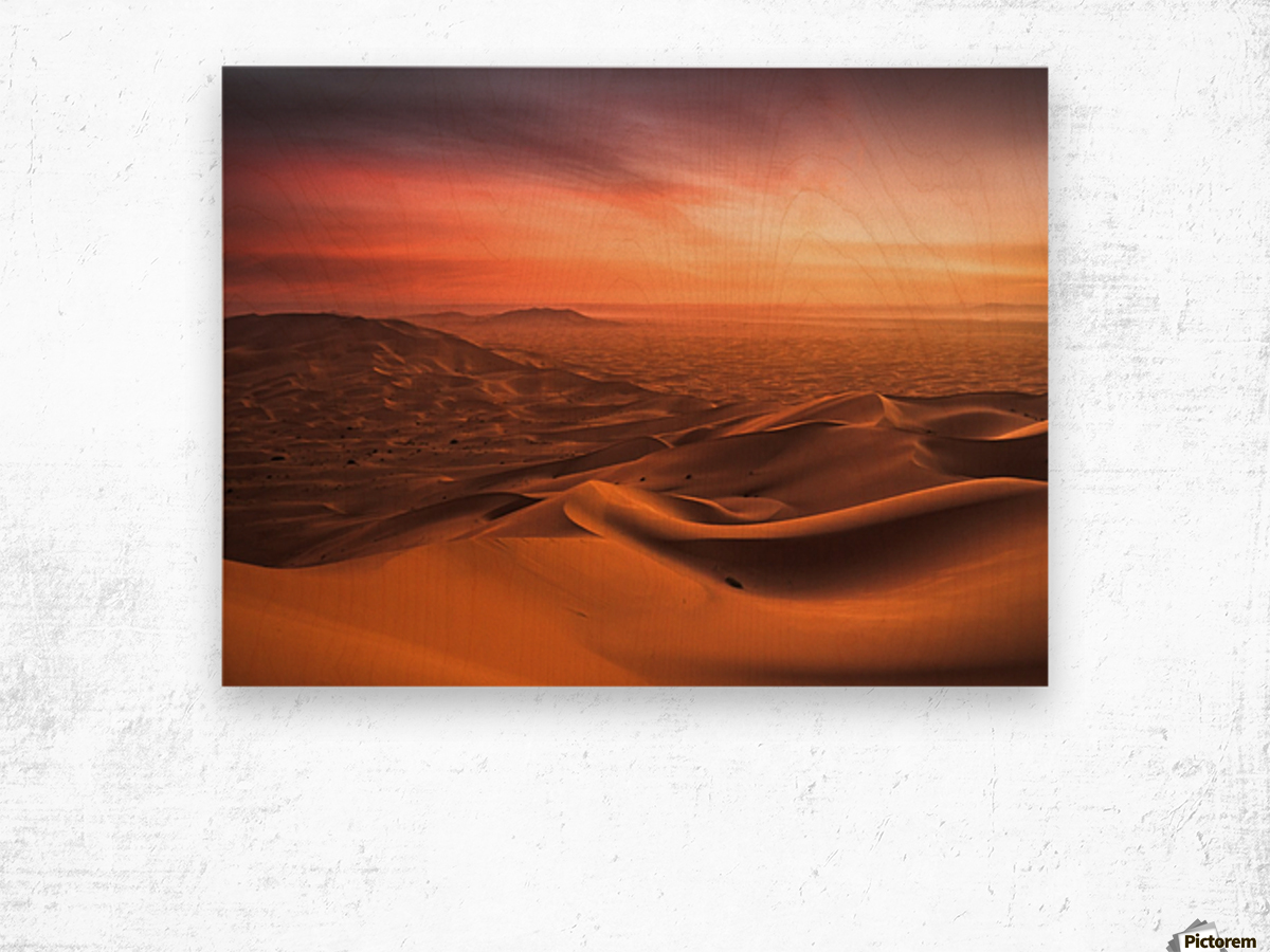 Sunset in the Desert Wood print