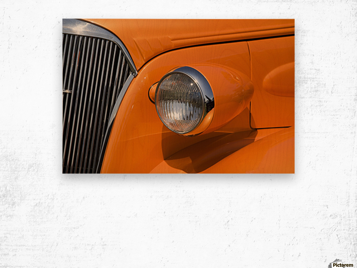 Orange Painted Vintage Car's Headlight And Front Grill; Port Colborne, Ontario, Canada Wood print