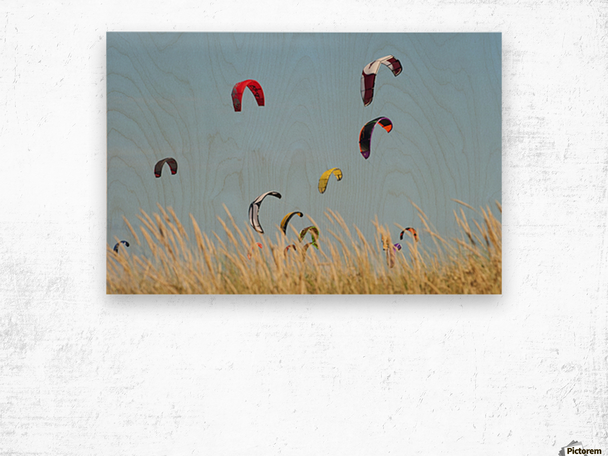 Kites Of Kite Surfers In Front Of Hotel Dos Mares; Tarifa, Cadiz, Andalusia, Spain Wood print
