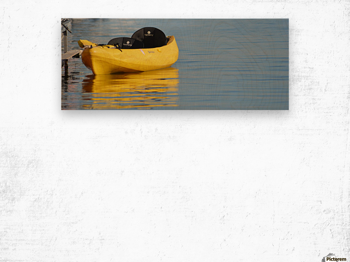 Yellow Kayak Wood print