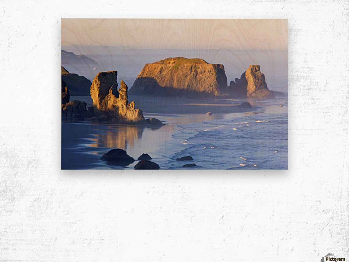 Morning Light Adds Beauty To Fog Covered Rock Formations At Bandon State Park; Bandon, Oregon, United States of America Wood print