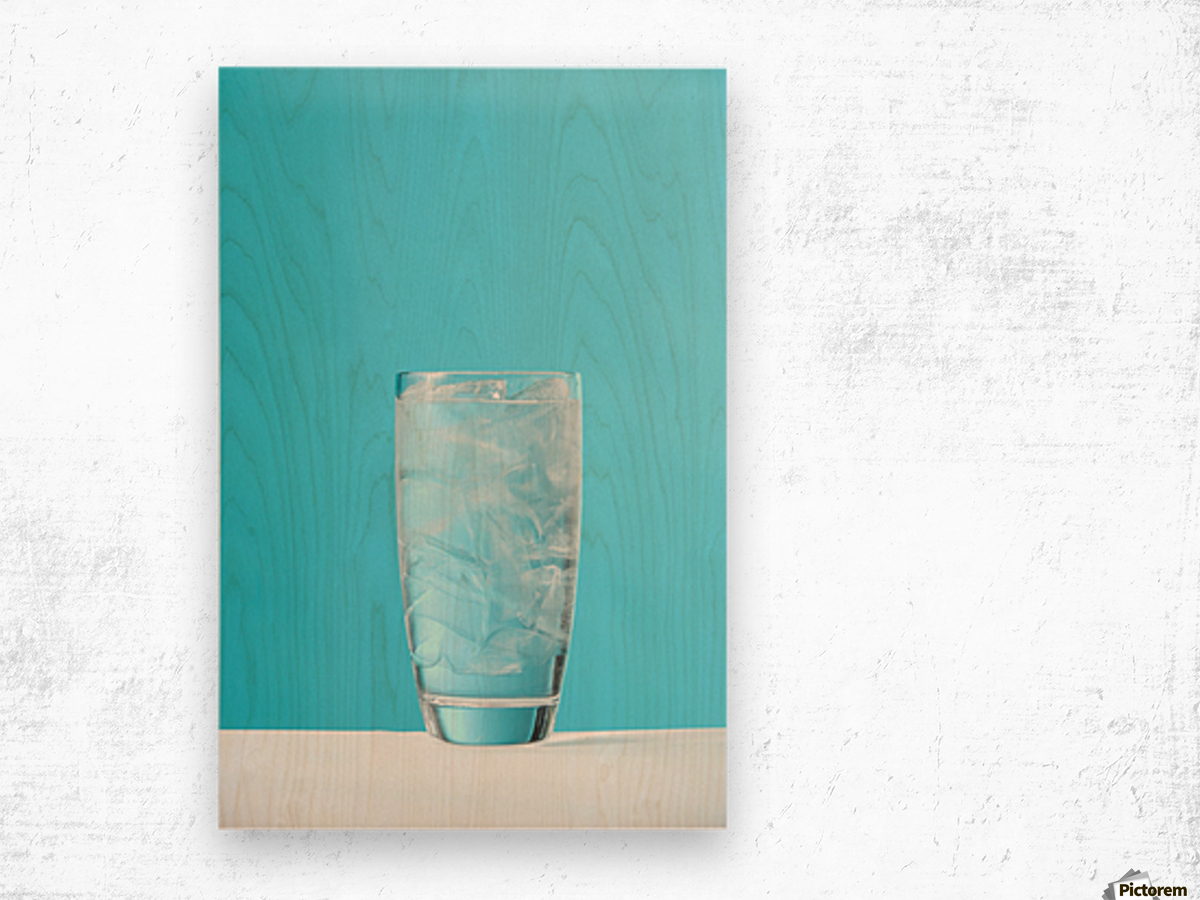 Very Full Glass Of Water With Ice Wood print