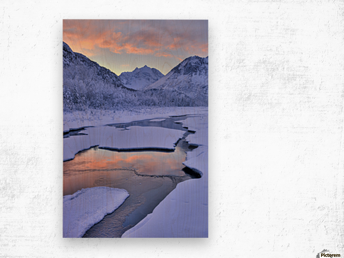 Colorful Sunrise Over A Stream At The Eagle River Nature Center In Chugach State Park, Southcentral Alaska, Winter, Hdr Wood print