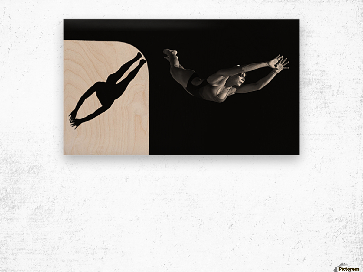 A Woman Diving Into The Unknown; Tarifa, Cadiz, Andalusia, Spain Wood print