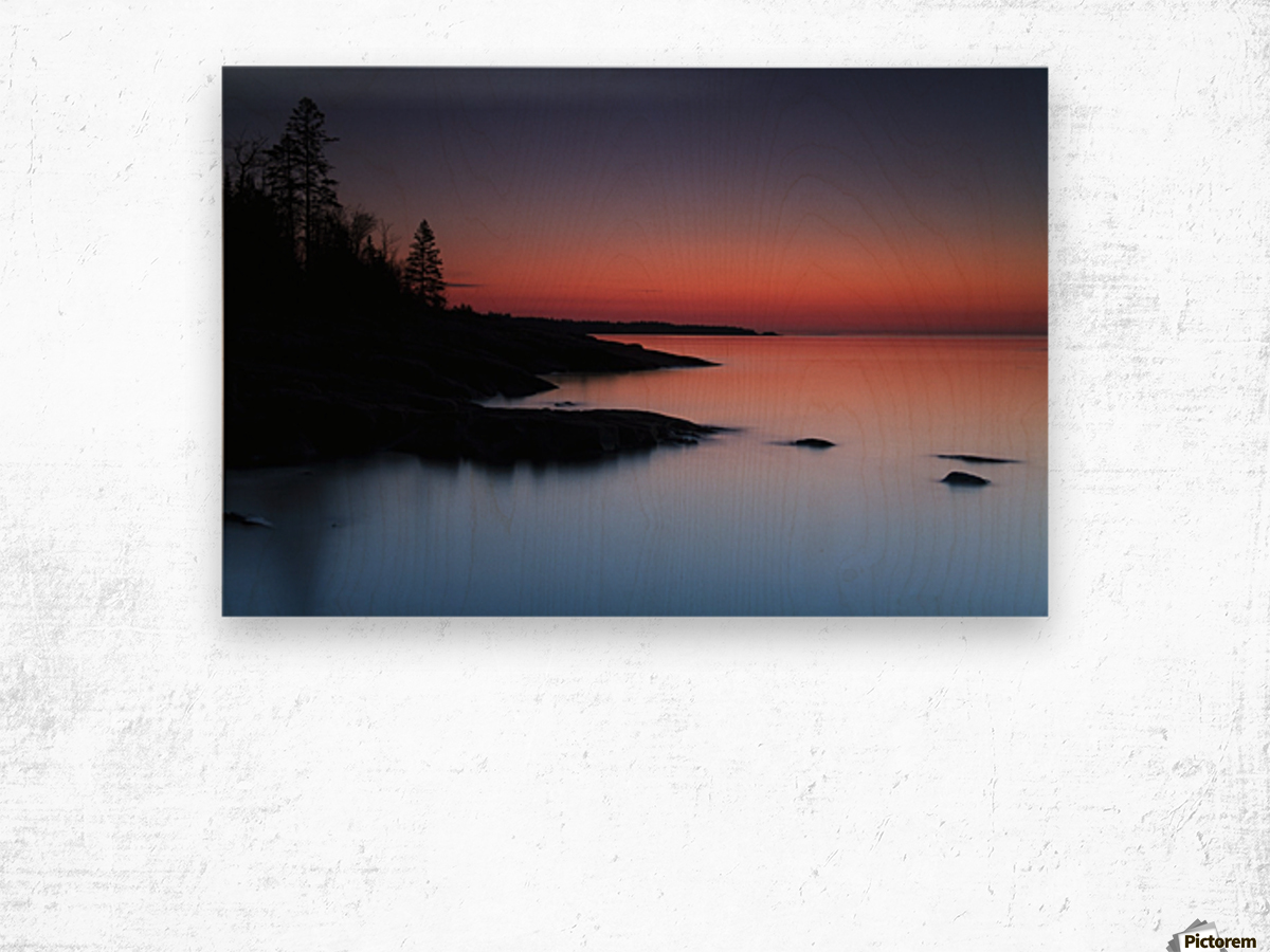 Dawn over the North Shore of Lake Superior, near Duluth; Minnesota, United States of America Wood print