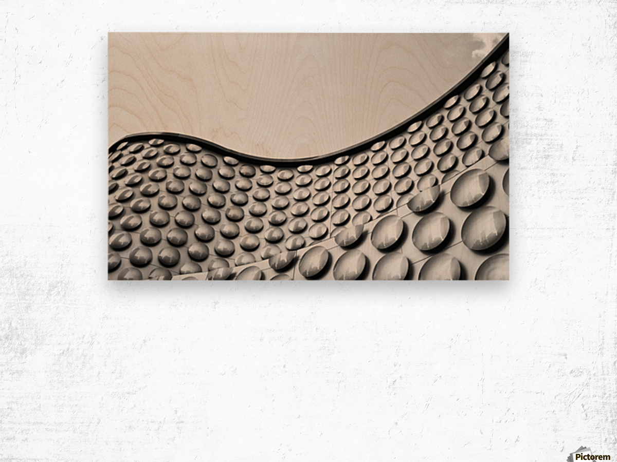 Facade of wall with curve and circle pattern; Las Vegas, Nevada, United States of America Wood print