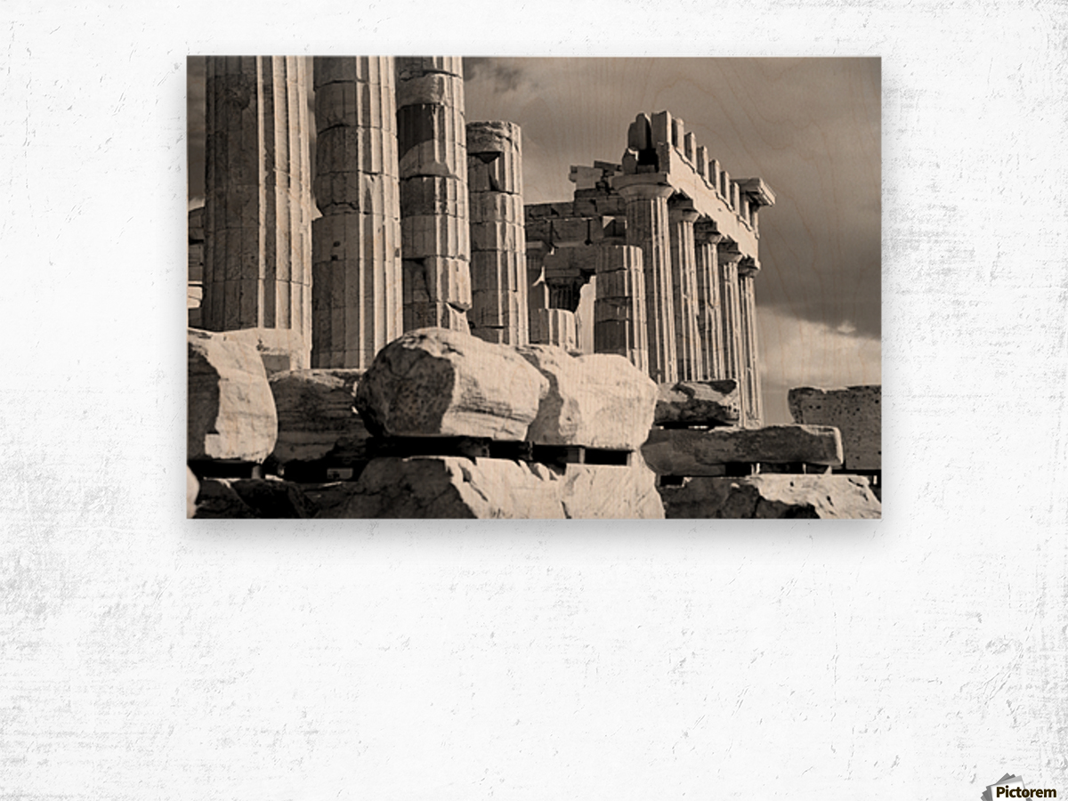 Mono piles of stones before ruined Parthenon; Athens, Attica, Greece Wood print