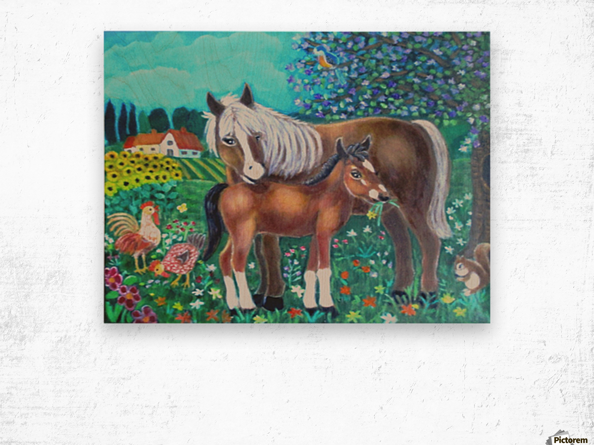 A mare and her foal. Wood print