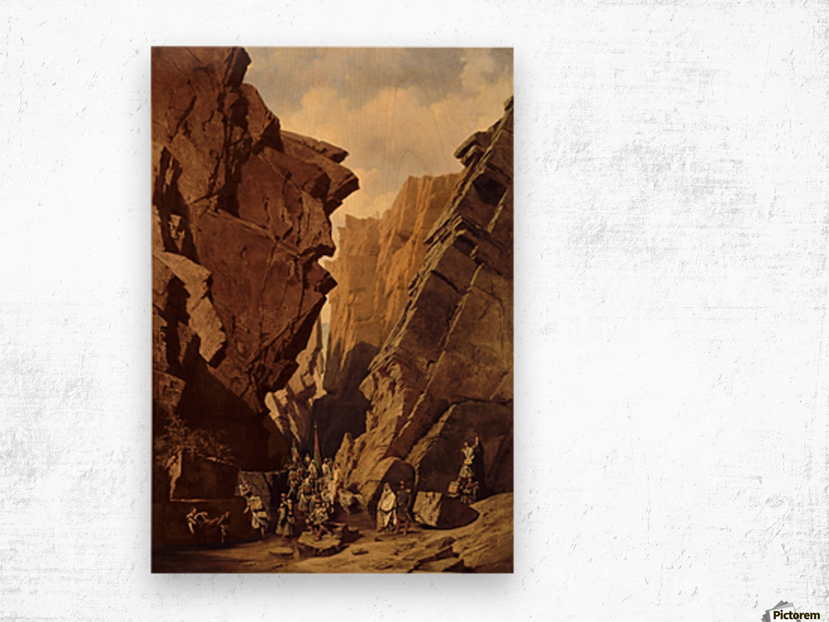 Army passing through the cliffs Wood print