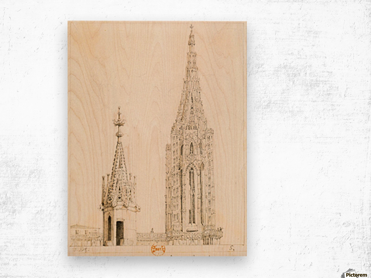 Tour et fleche de la cathedrale de Strasbourg Wood print