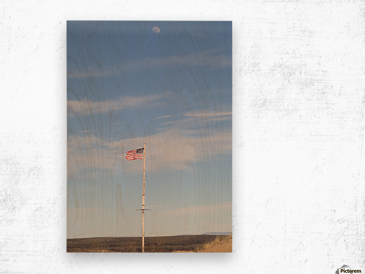 Moon and American Flag over Fort Craig VP1 Wood print