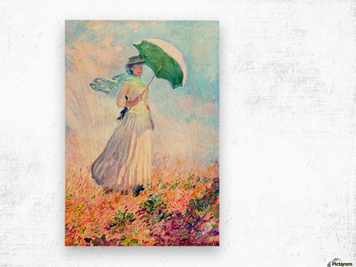 Lady with sunshade, study by Monet Wood print