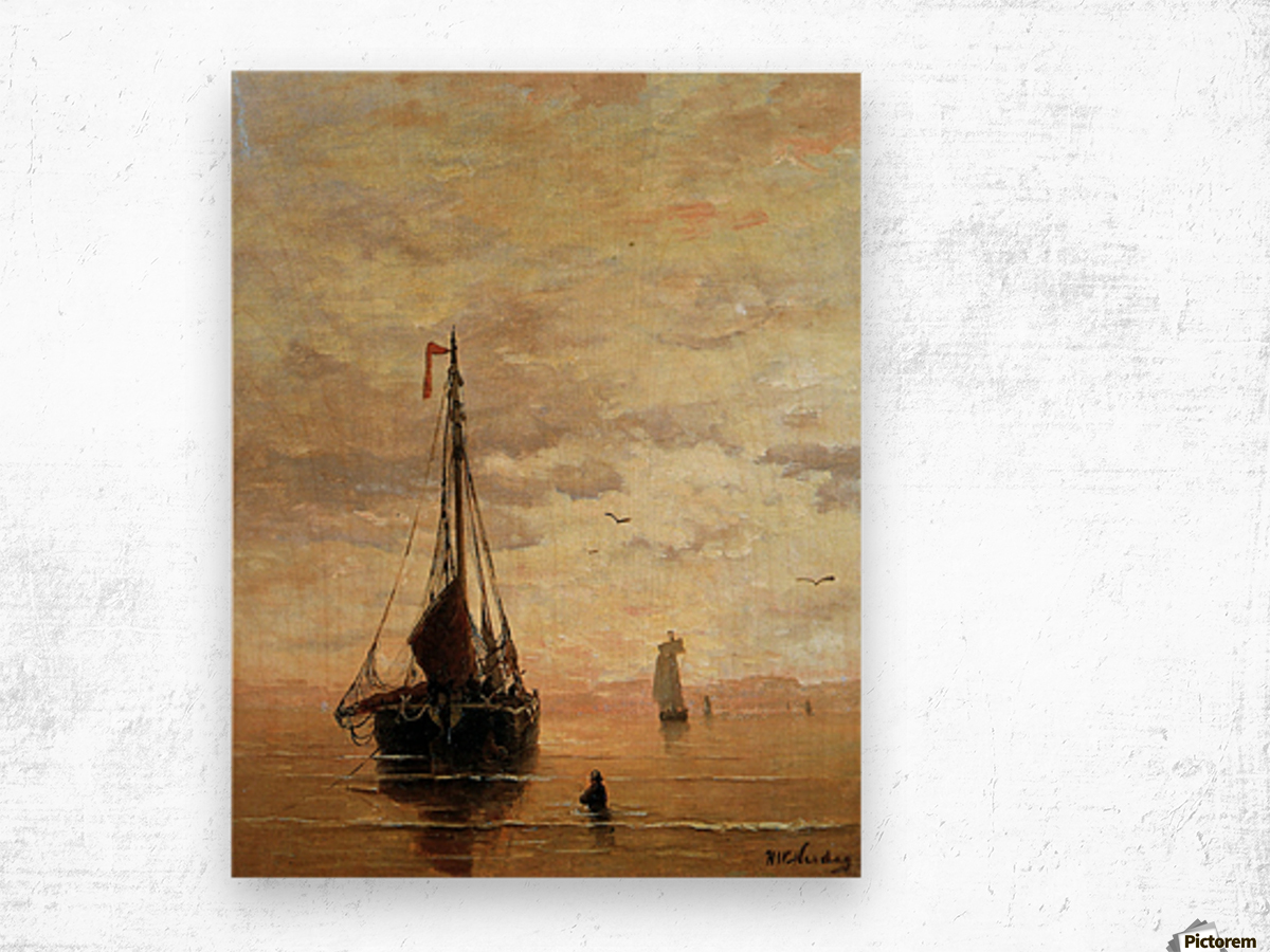 Ships On A Calm Sea Near The Coast Sun Wood print