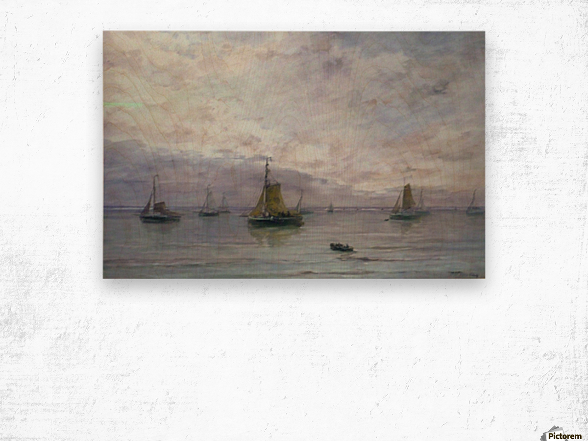 Ships on anchor Wood print