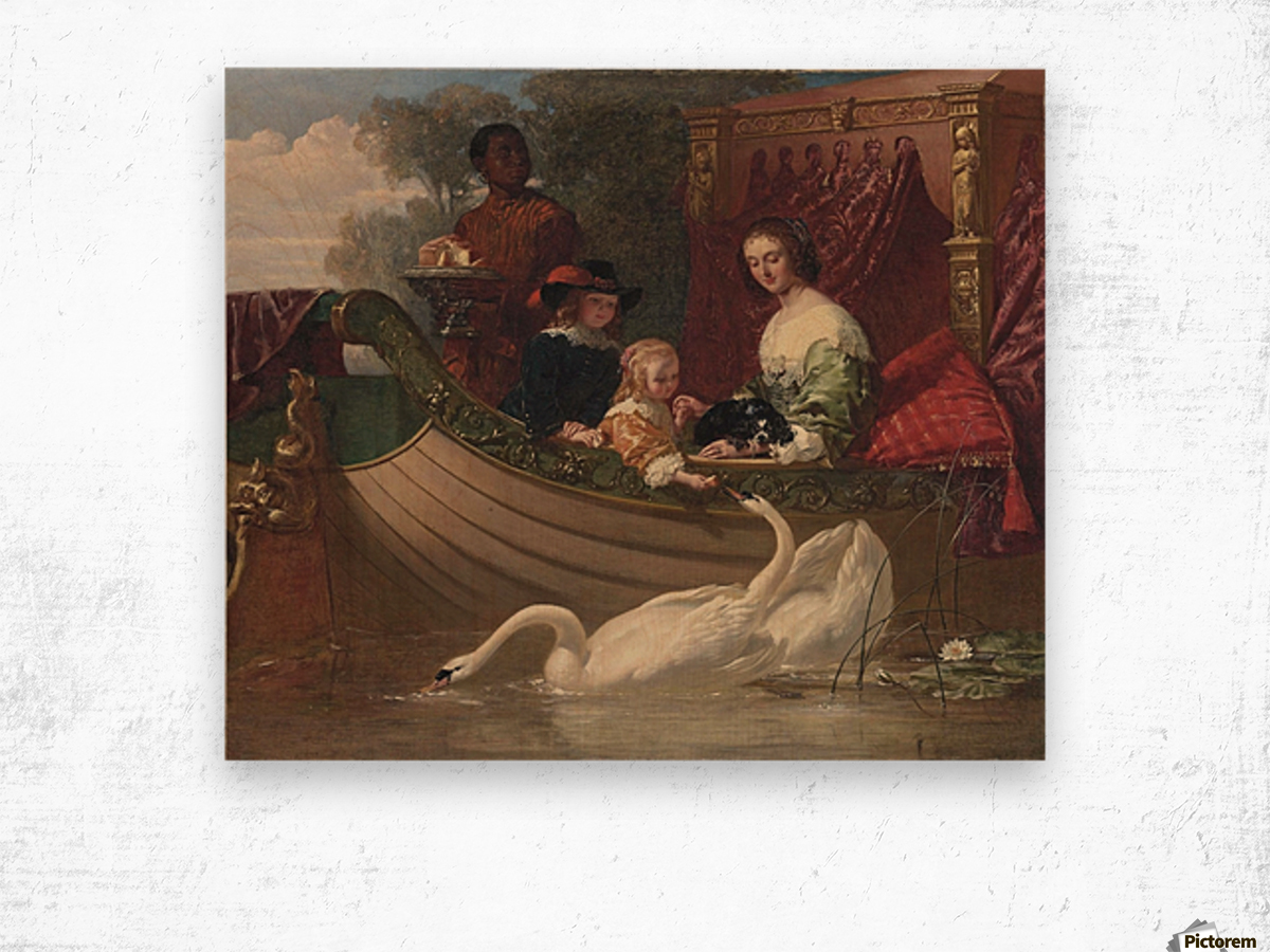 A young family feeding a swan Wood print