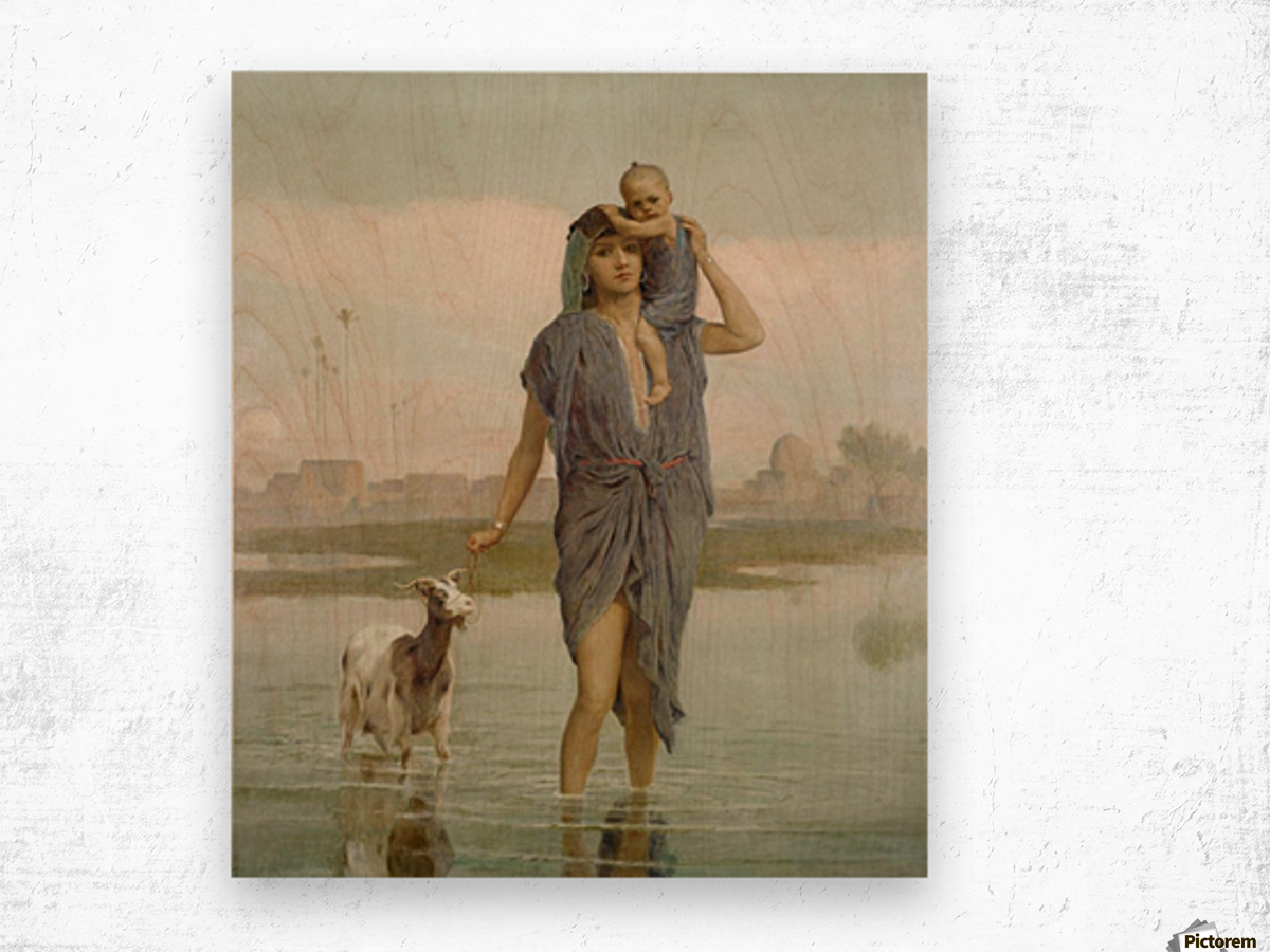 A young mother and a goat Wood print